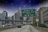 Entering New York City in a Starry Night — Stock Photo