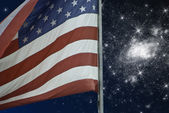 Starry Night over American Flag — Stock Photo