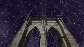 ブルックリン ・ ブリッジ上空 — ストック写真