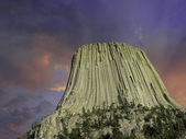 Colors of Sunset over Devils Tower, U.S.A. — Stock Photo