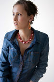 Female in denim shirt — Stock Photo