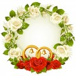 Vector frame with white and red rose and golden wedding rings - Stock Vector