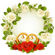 Royalty-Free Stock Imagen vectorial: Vector frame with white and red rose and golden wedding rings