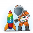 Astronaut painting peace sign - Stock Vector