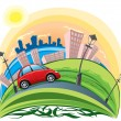 Stock Vector: Car riding across city