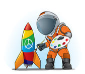 Astronaut painting peace sign — Stock Vector