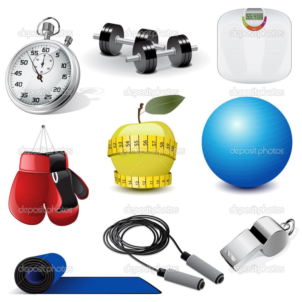 Vector illustration set of the fitness icons — Stock Vector #5539611