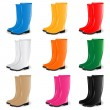 Colored rubber boots vector set - Stok Vektör