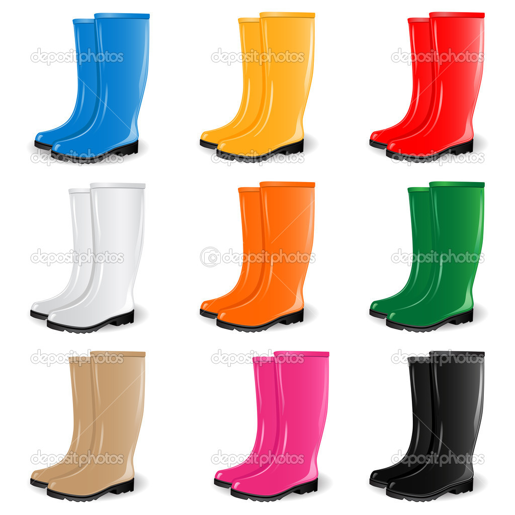 Vector set of  rubber boots in different colors  — Stock Vector #6487950