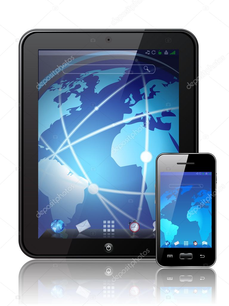Vector illustration of a modern tablet PC pad and mobile phones — Stock Vector #6602911