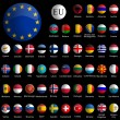 Europe glossy icons collection against black — Stock Vector