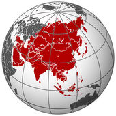 Asia on earth — Stock Vector