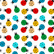 ladybugs in colors seamless pattern — Stock Vector