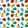 Stock Vector: Ladybugs in colors seamless pattern