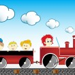 Train with children — Imagen vectorial