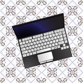 Laptop over flowerish texture — Stock Vector