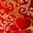 Abstract ornate background with hearts — 图库矢量图片