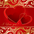 Abstract red  background with  hearts — Imagens vectoriais em stock