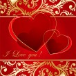 Abstract red  background with  hearts — 图库矢量图片