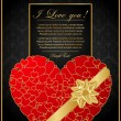 Golden Valentine background with Heart — Stock Vector