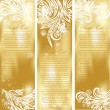 Set of gold xmas cards - Stock Vector