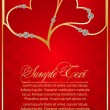 Two red hearts vector with Diamonds — Stockvectorbeeld