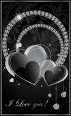 Black heart card.Vector illustration. — Stock Vector