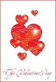 Decorative red hearts — 图库矢量图片