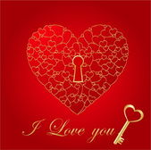 Red shiny heart card with key — Stock Vector