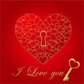 红色闪亮心形卡与键 — 图库矢量图片