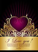 Violet heart Valentine's day — Stock Vector
