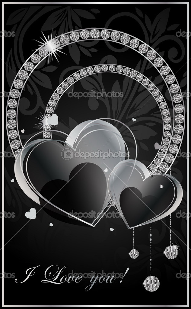 Black heart card.Vector illustration.  Stock Vector #5577062