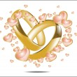 Stock Vector: Illustration with wedding rings and Hearts