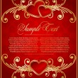 Vector de stock : Vintage background with hearts