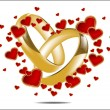 Illustration with wedding rings and Red Heart  — Stock Vector