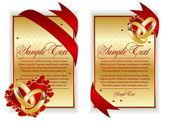Conjunto de banner con corazones rojos — Vector de stock