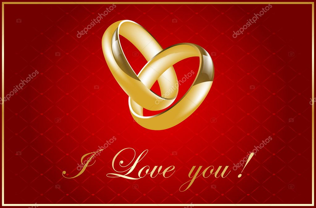 Valentine card with wedding rings — Stock Vector #6641890