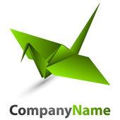 Origami swan logo — Stock Vector