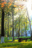 A photo of the sun beams, bench and house in the park — Stock Photo