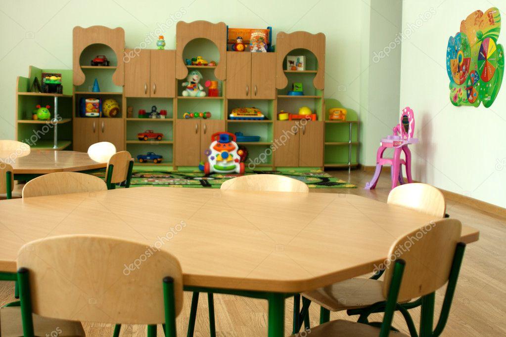 download furniture in kindergarten preschool classroom stock