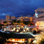 Night illumination of luxury hotel and clouds, Tenerife island, — Stock Photo