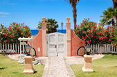 Way and door to the beach at luxury hotel, Tenerife island, Spai — Stock Photo