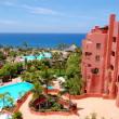 Building and beach of the luxury hotel, Tenerife island, Spain — Stock Photo