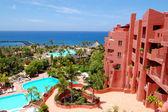 Building and beach of the luxury hotel, Tenerife island, Spain — Stock Photo