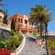 Front staircase at luxury hotel decorated with flowers, Tenerife — Stock Photo #6425137