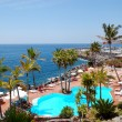 View on the beach, palms and swimming pool of luxury hotel, Tene - Lizenzfreies Foto