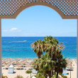 View on a beach of the luxury hotel, Tenerife island, Spain — Stock Photo