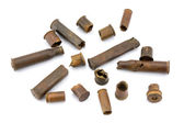 Fragmentary bullets on a white background. — Stock Photo
