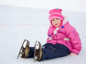 The girl in the skate on the ice. — Stock Photo