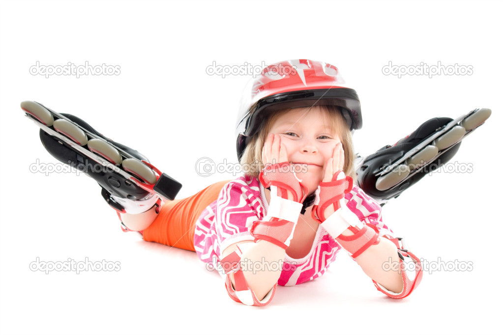 A girl on roller skates.  Stock Photo #5466208
